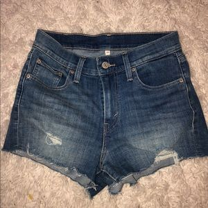 Levi's Distressed High-Waisted Shorts